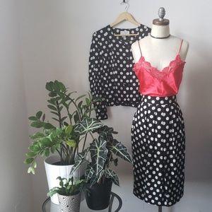 Vintage 80s Polka Dot 100% Silk 2 Piece Skirt Set
